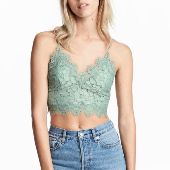 b07eea6278 H M Tops - Vintage Mint Green Lace Bustier Bralette Crop Top